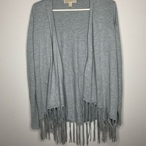 Michael Kors: Grey Sweater with Fringe